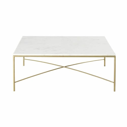 Table Basse En Marbre Blanc Et Metal Coloris Laiton Isaee