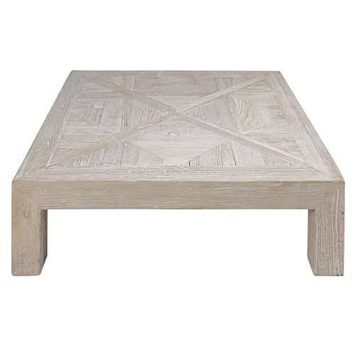 Table Basse En Orme Massif Recyclé Blanchi