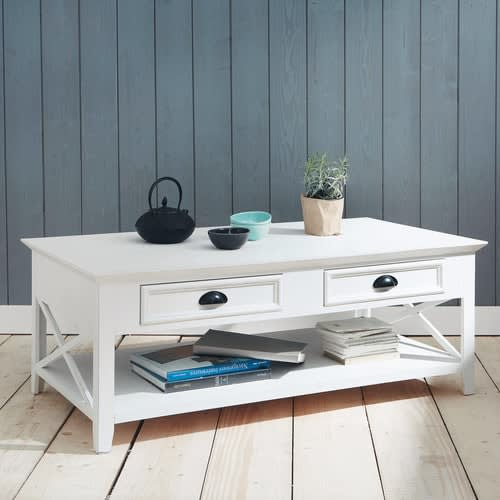 Table basse en pin blanc L 120 cm