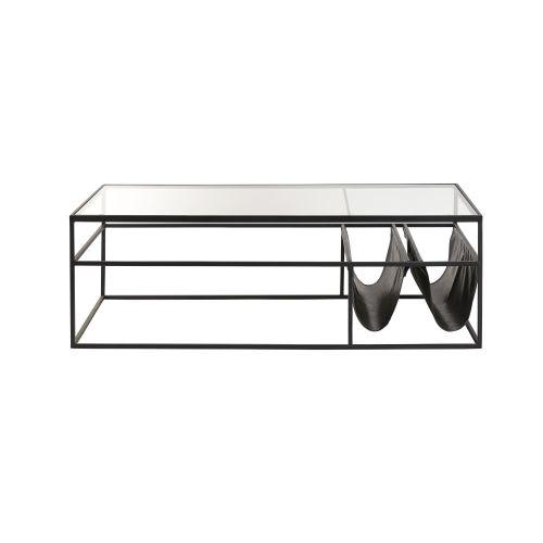 tout neuf c3499 e7d6d Table basse en verre et métal noir