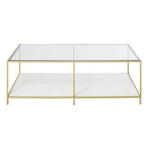 Table Basse En Verre Trempe Et Marbre Poli Blanc Janae Maisons
