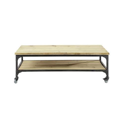nouveau style b84e5 91dd3 Table basse indus à roulettes en sapin et métal
