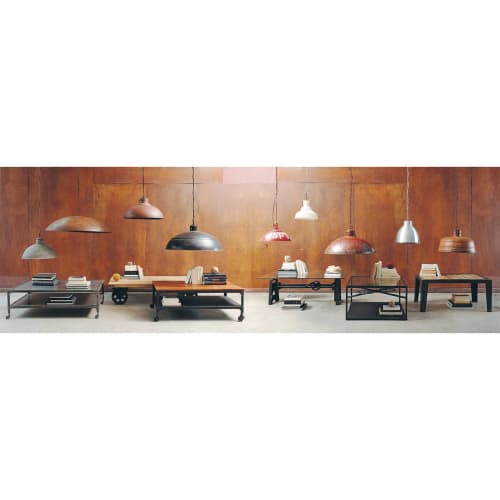 Table basse indus en verre et métal L135 Garibaldi   Maisons