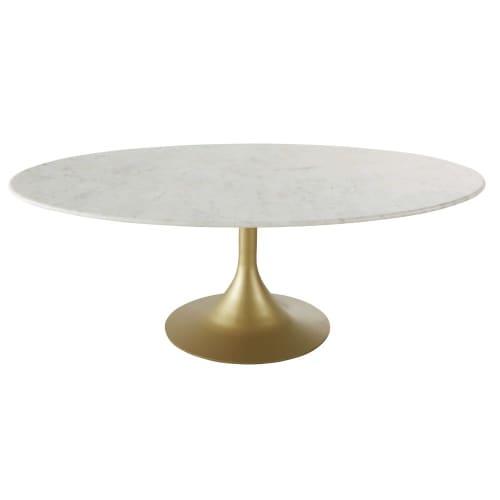 Table Basse Ovale En Marbre Blanc Et Metal Coloris Laiton Manisa