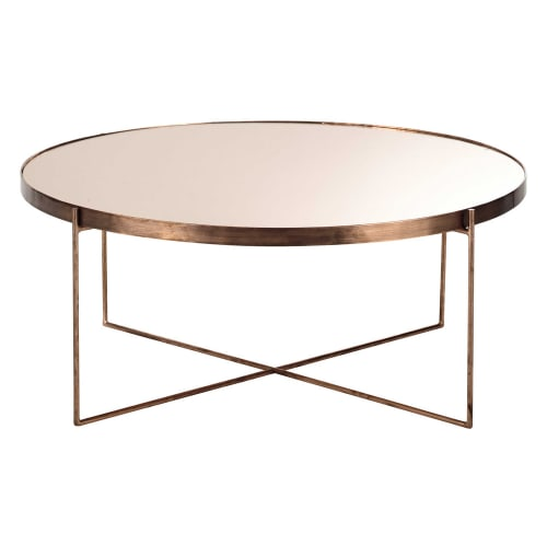 Table Basse Ronde Avec Miroir En Metal Cuivre Comete Maisons Du Monde