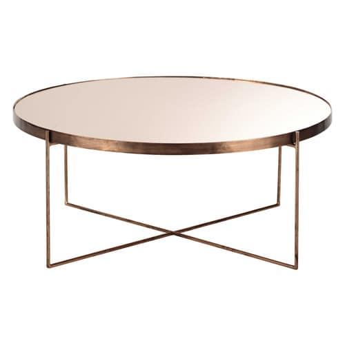 Table Basse Ronde Avec Miroir En Metal Cuivre