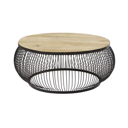 Table Basse Ronde En Manguier Massif Et Metal Noir