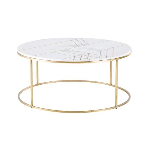 Table basse ronde en marbre blanc et fer doré | Maisons du Monde