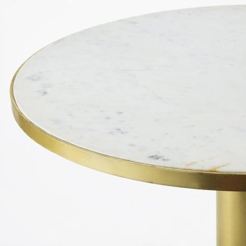 Table Basse Ronde En Marbre Blanc Et Metal Coloris Laiton Louxor