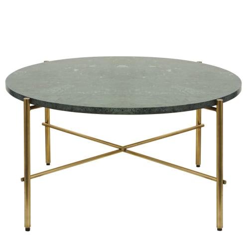 Table basse ronde en marbre vert et métal coloris laiton | Maisons du Monde