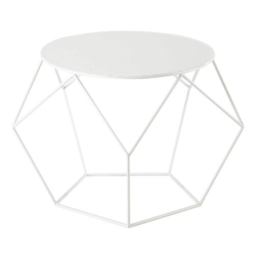 Table Basse Ronde En Metal Blanche D 64 Cm Maisons Du Monde