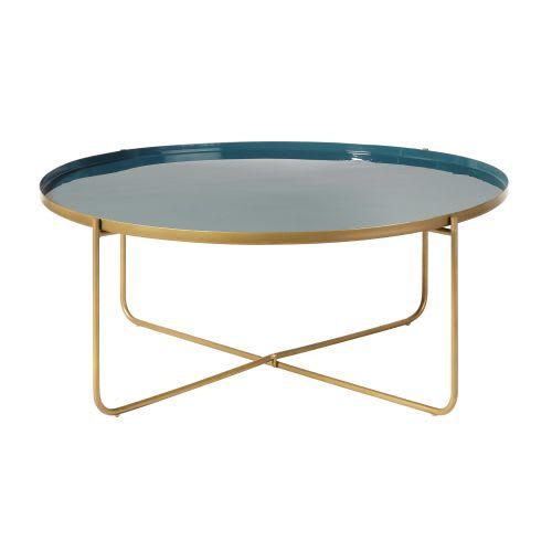 Table Basse Ronde En Metal Bleu Canard Et Dore