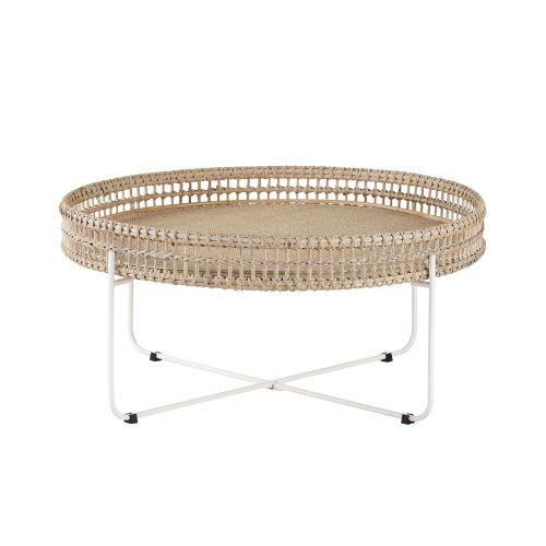 Table Basse Ronde En Rotin Tresse Et Metal