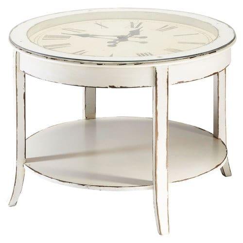 Table Basse Ronde Verre.Table Basse Ronde Horloge En Verre Et Bois Blanc Vieilli D 72 Cm