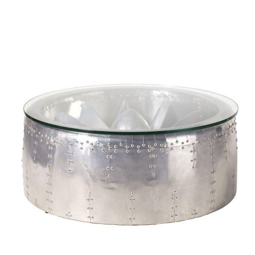 ronde indus en Table et basse aluminium verre TJ1FKc3ul5