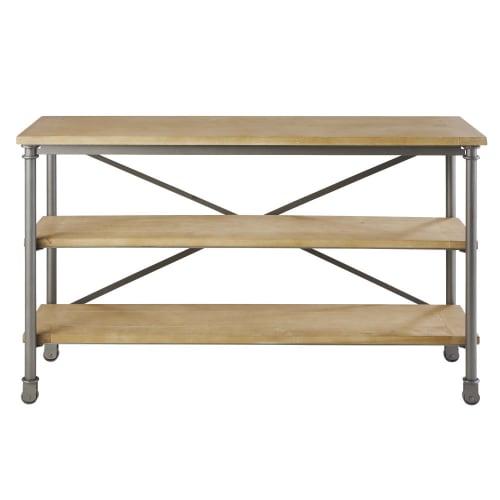Table console à roulettes en métal et manguier massif noire L 130 cm |  Maisons du Monde