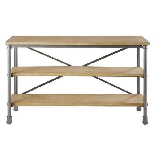 Table console à roulettes en métal et manguier massif noire L 130 cm