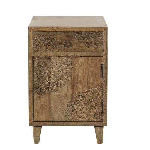 Table de chevet 9 porte 9 tiroir en manguier massif sculpté  Maisons du  Monde