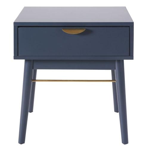 Table De Chevet 1 Tiroir Bleu Fonce Penelope Maisons Du Monde