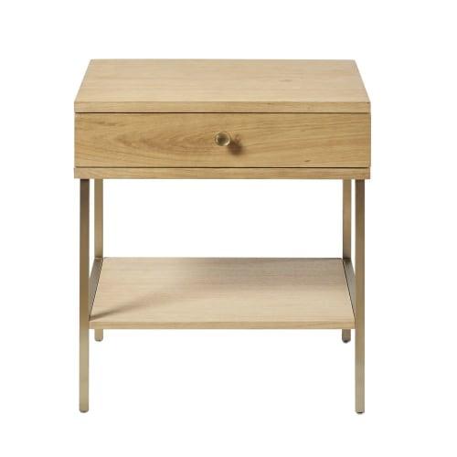 Table De Chevet 1 Tiroir Et Pieds En Metal Coloris Laiton Maisons Du Monde
