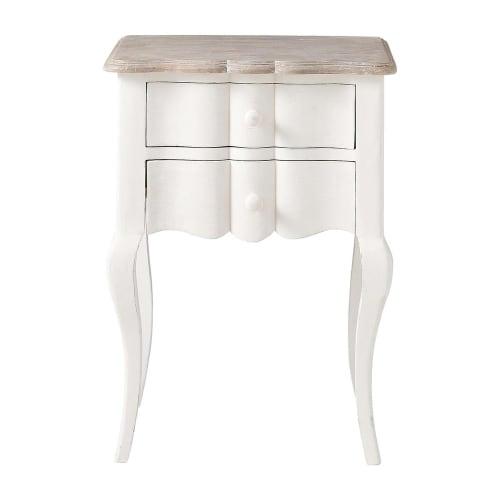 Table de chevet avec tiroirs en manguier blanche L 10 cm  Maisons du Monde