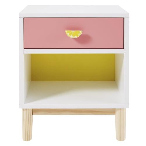 Table De Chevet Enfant Blanche Rose Et Jaune Tropicool Maisons