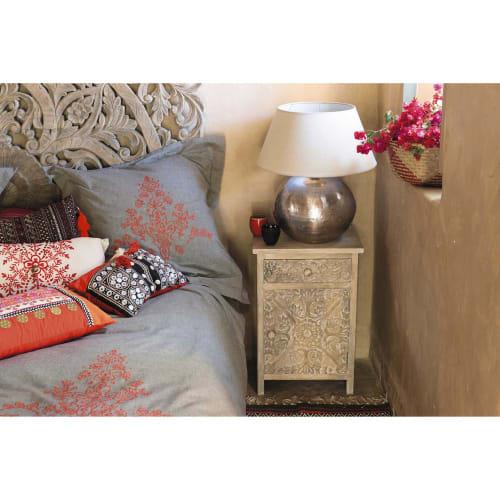 Table de chevet sculptée avec tiroir en manguier massif
