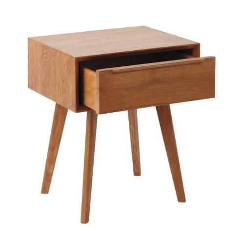 chevet de Table en massif 1 tiroir vintage chêne PnXwO80k