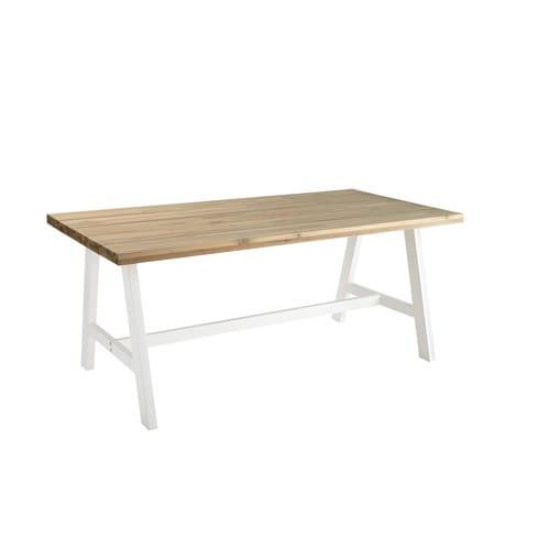 Table de jardin 6/8 personnes en acacia et métal blanc L180