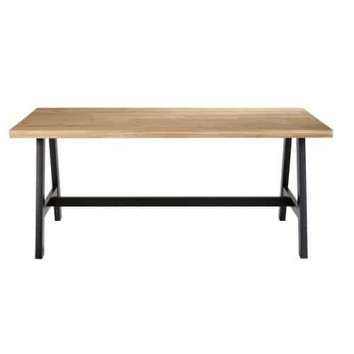 Table de jardin 6/8 personnes en acacia et métal noir L180