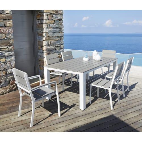 Table de jardin 6 personnes en aluminium et composite L180