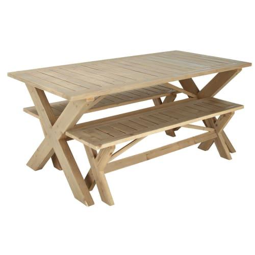 Table de jardin avec 2 bancs en sapin L150 | Maisons du Monde