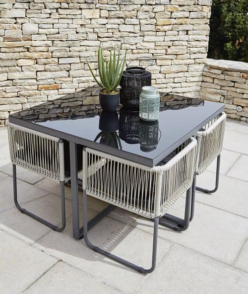 Table De Jardin Avec 4 Chaises En Resine L 107 Swann Maisons Du Monde