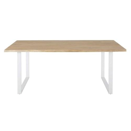 Table de jardin en acacia massif et acier blanc 6/8 personnes L190