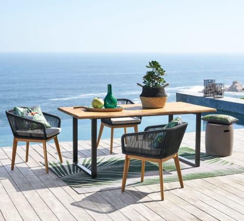 Table de jardin en acacia massif et métal noir 6/8 personnes L190