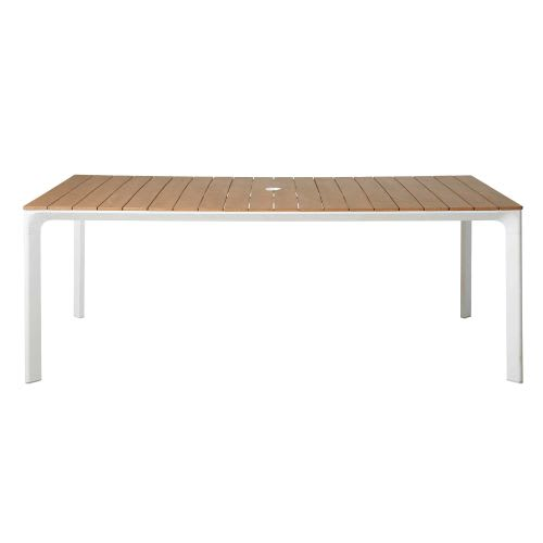 Table de jardin en aluminium blanc 6/8 personnes L200