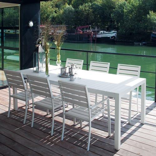 Table de jardin en aluminium blanc L 230 cm