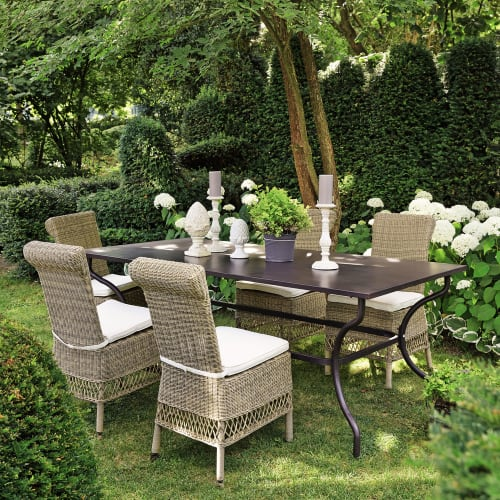 Table de jardin en fer forgé marron 6/8 personnes L200