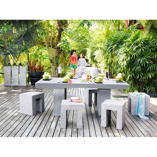 Table de jardin en magnésie effet béton 8/10 personnes L200