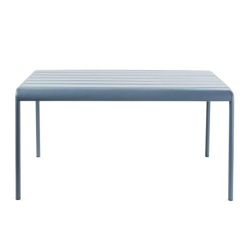 Table de jardin en métal bleu gris 4/6 personnes L140