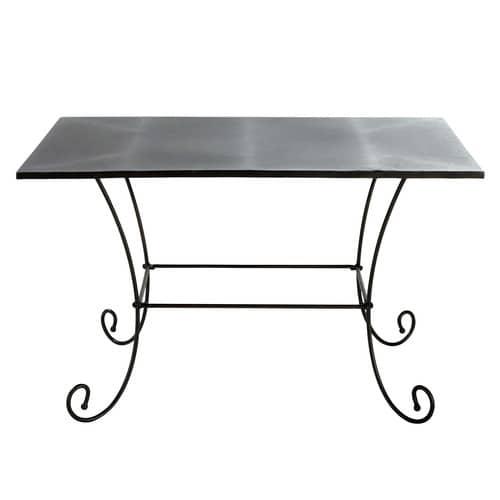 Table de jardin en métal et fer forgé marron L 125 cm