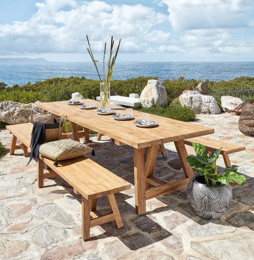 Table de jardin en teck recyclé 12/14 personnes L300