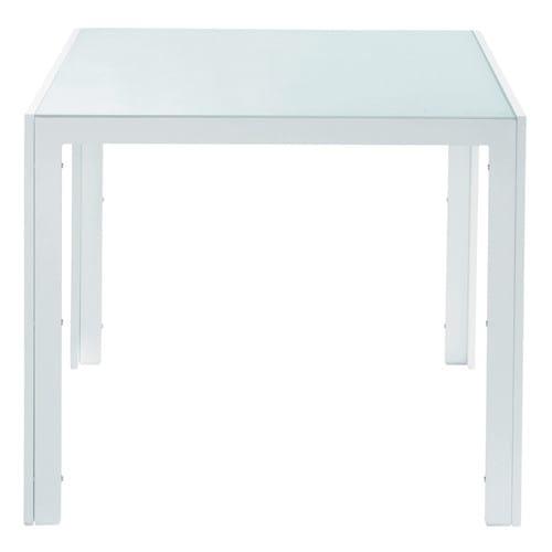 Table de jardin en verre trempé et aluminium blanche L 90 cm