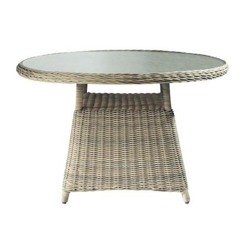 Table de jardin en verre trempé et résine tressée D 120 cm