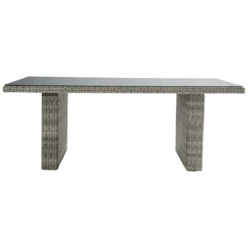 Table de jardin en verre trempé et résine tressée grise L 200 cm   Maisons  du Monde