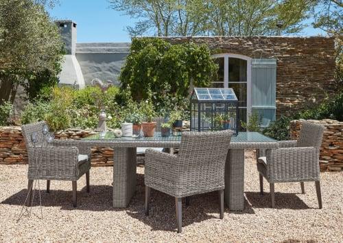 Table de jardin en verre trempé et résine tressée grise L 200 cm