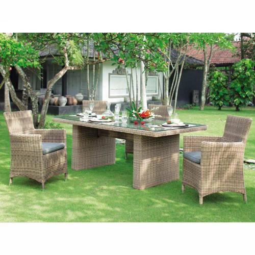 Table de jardin en verre trempé et résine tressée L 200 cm