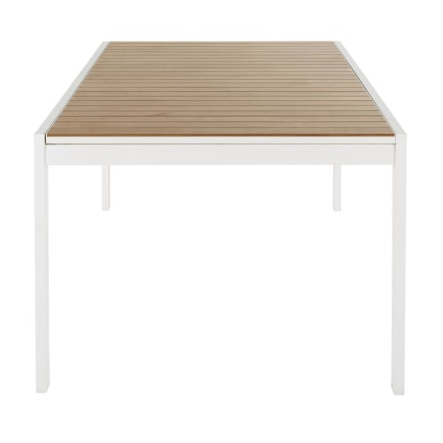 Table de jardin extensible en aluminium imitation teck 8 personnes à 12  personnes L180/270