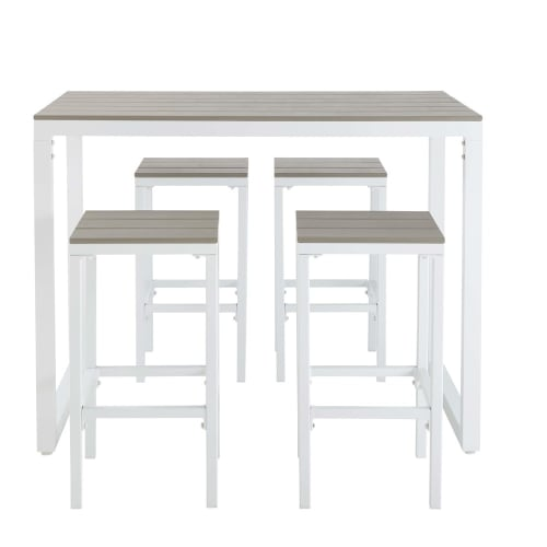 Table de jardin haute avec 4 tabourets en aluminium L128 | Maisons du Monde