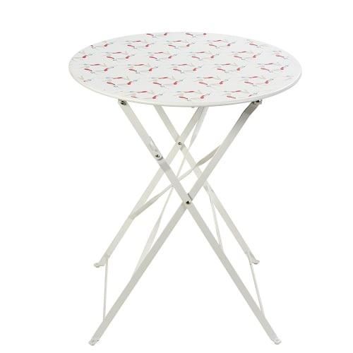Table de jardin pliante en métal blanc 2 personnes D58 | Maisons du Monde